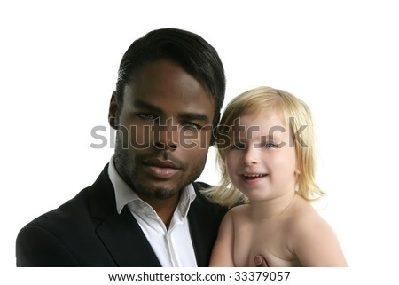 Multi ethnic racial family african father caucasian blond daughter portrait - stock photo