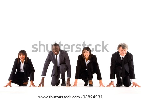 multi-ethnic team on the grid - stock photo