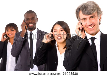 multi-ethnic team with mobile - stock photo