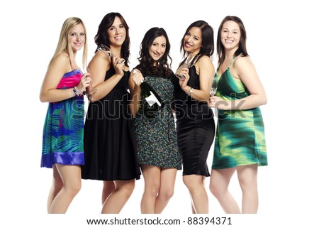 Multi ethnic young girls partying on white - Indoors