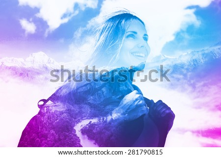 multi exposure effect of half transparent woman's portrait overlaying the mountain landscape - stock photo