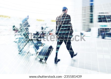 multi exposure picture of traveling businessman and facades of office buildings - stock photo