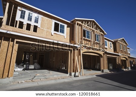 Multi family housing construction framing in the western United States. - stock photo