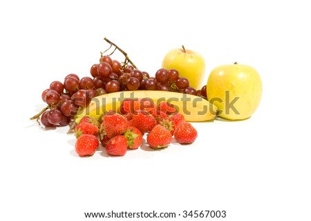 Multi fruits with cherrys  isolated on white