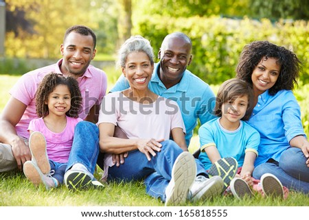 Multi Generation African American Family Sitting In Garden - stock photo
