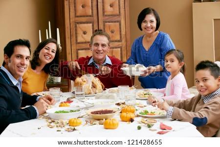 Multi Generation Family Celebrating Thanksgiving - stock photo