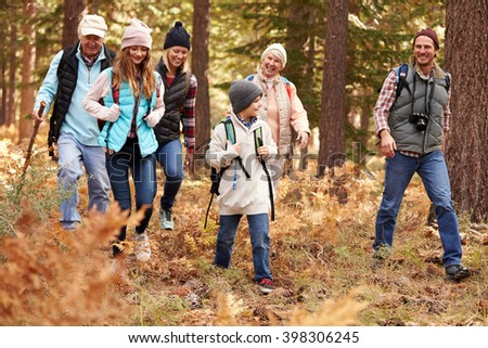 Multi generation family hiking in a forest, California, USA - stock photo