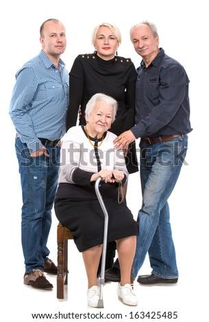 Multi-generation family on a white background - stock photo