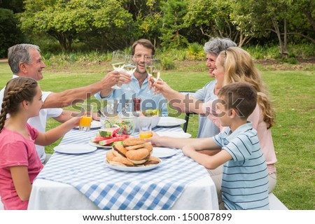 Multi generation family toasting each other at dinner outside at picnic table - stock photo