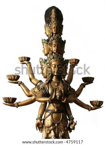 Multi handed buddha over white background - stock photo