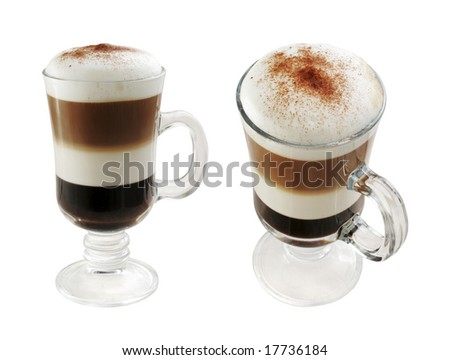Multi-layered coffee in two foreshortened on white isolated with path.
