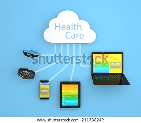 Multi-platform health monitoring synchronize by cloud computing technology concept - stock photo