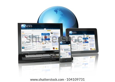 Multi platform Media Group of Electronic Devices tablet PC,laptop and business smart phone connected online on a white background - stock photo