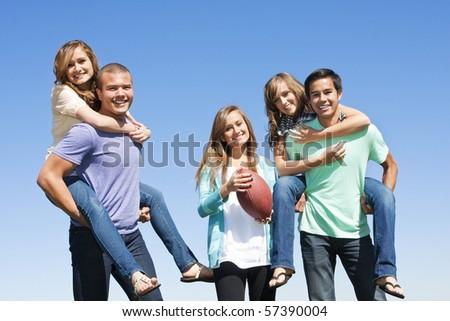 Multi-racial group  of friends Having Fun together - stock photo