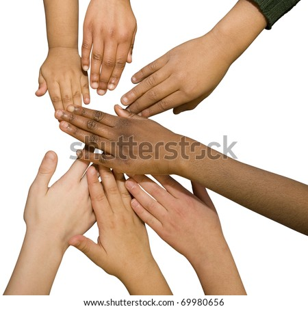 Multi Racial Hands - stock photo