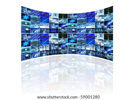 Multi screens showing various business images on white - stock photo
