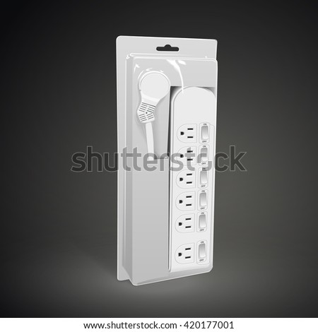 multi-socket adapter with package isolated on black background. 3D illustration. - stock photo