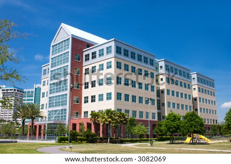 multi-story office building in the riverwalk area of Jacksonville, Florida - stock photo