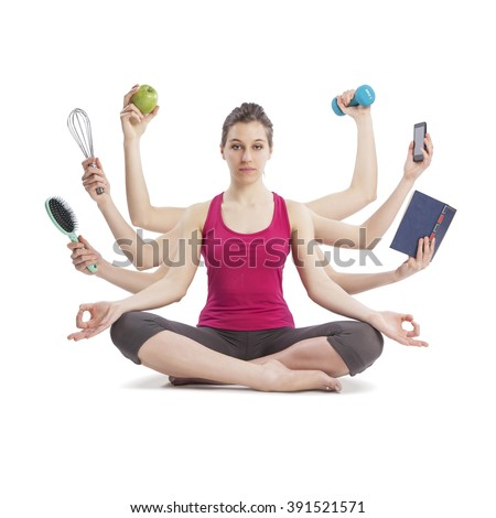 multi tasking woman portrait in yoga position with many arms - stock photo