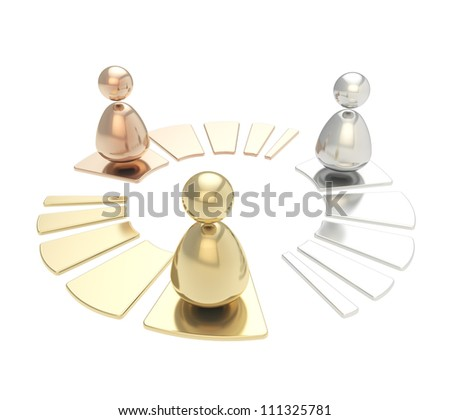 Multi user network connection emblem glossy chrome golden, bronze, silver metal icon isolated on white background - stock photo