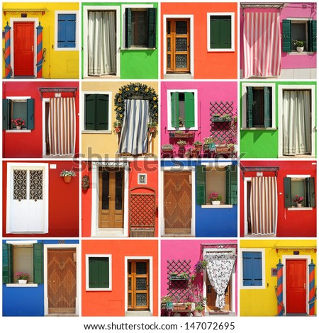 multicolor abstract facade made of images from Burano village,Venezia,Veneto,Italia, Europe - stock photo