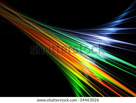 Multicolor abstract flames on black background-3D rendered fractal. - stock photo