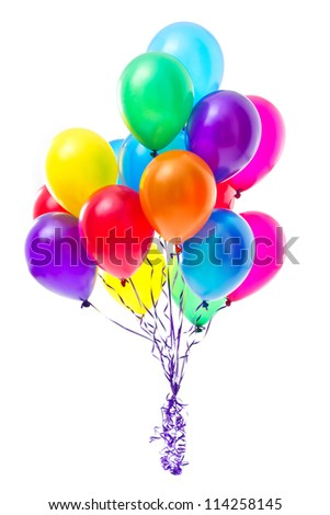 Multicolor balloons on white background - stock photo