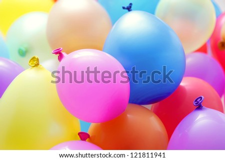 multicolor balloons - party time - stock photo