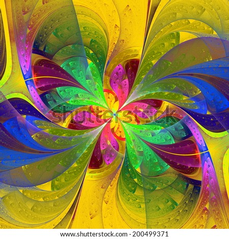 Multicolor beautiful fractal flower on yellow background. Computer generated graphics. - stock photo
