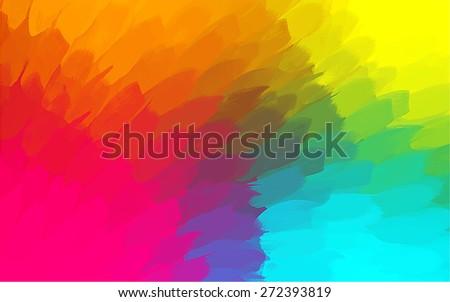 Multicolor big brush strokes background. Raster version - stock photo