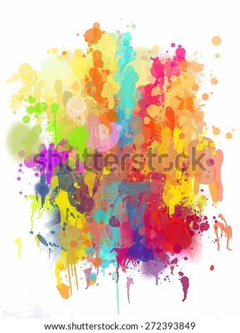Multicolor blobs brush strokes background. Raster version - stock photo