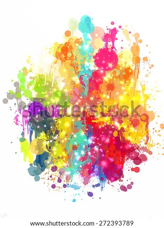 Multicolor blobs with sparkle brush strokes background. Raster version - stock photo