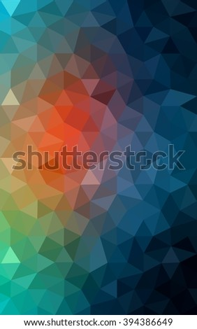 Multicolor blue, red polygonal illustration, which consist of triangles. Geometric background in Origami style with gradient. Triangular design for your business.