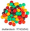 Multicolor bonbon sweets (ball candies) heap, isolated on white - stock photo