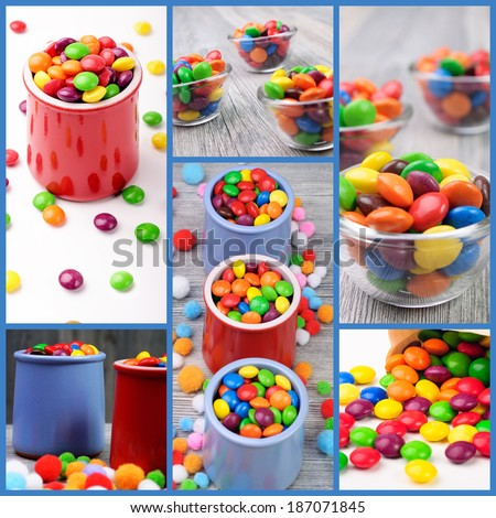 Multicolor candies in different color jars - stock photo