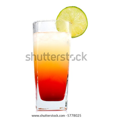 Multicolor chilled drink with lime