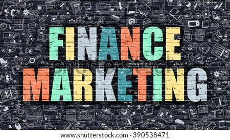 Multicolor Concept - Finance Marketing on Dark Brick Wall with Doodle Icons. Modern Illustration in Doodle Style. Finance Marketing Business Concept. Finance Marketing on Dark Wall. - stock photo