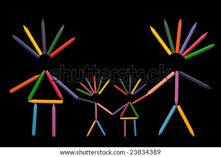 Multicolor crayons shaped as happy family on black background. - stock photo