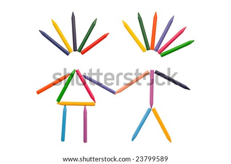 Multicolor crayons sorted in shapes of male and female isolated on white. - stock photo