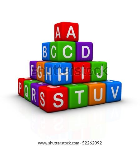 multicolor cubes alphabetical pyramid - stock photo