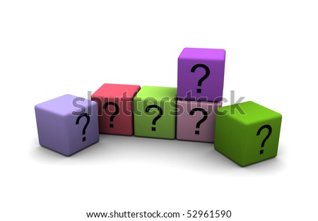 multicolor cubes with question-marks on white background - stock photo