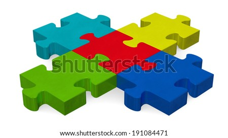 Multicolor 3d puzzle forming intersection isolated on white, perspective view