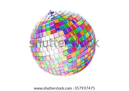 Multicolor disco ball on white background - stock photo