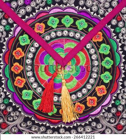 multicolor ethnic embroidery   - stock photo