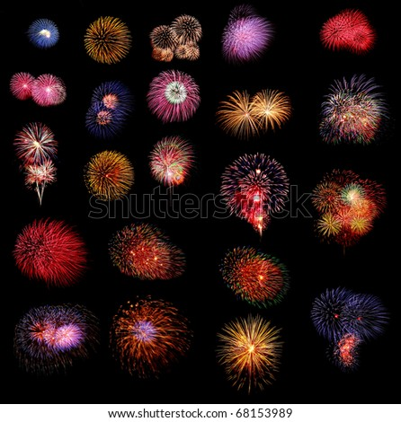 multicolor fireworks on black background - stock photo