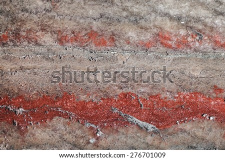 multicolor fragment of wall in potassium salt mine - stock photo