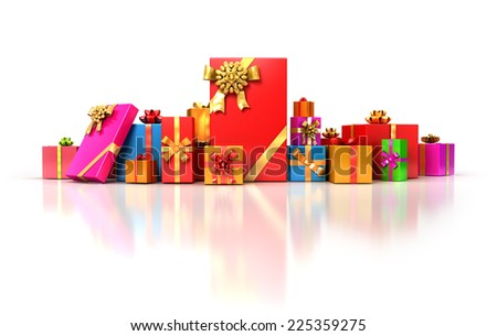 Multicolor gifts with bow and ribbons on white background . Holiday 3d illustration. - stock photo