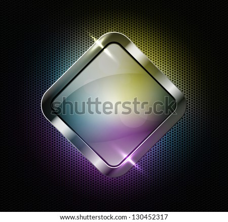 Multicolor glass banner on a perforated metallic background, raster copy of vector file