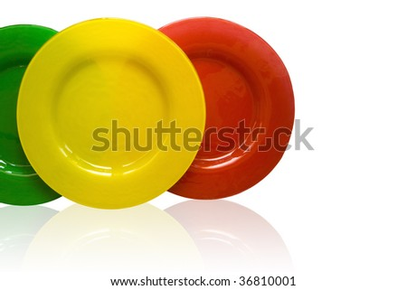 multicolor glass plate isolated on white background