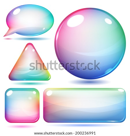 Multicolor glass shapes or buttons various forms on white background - stock photo